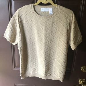 Alfred Dunner tan crisscross summer sweater